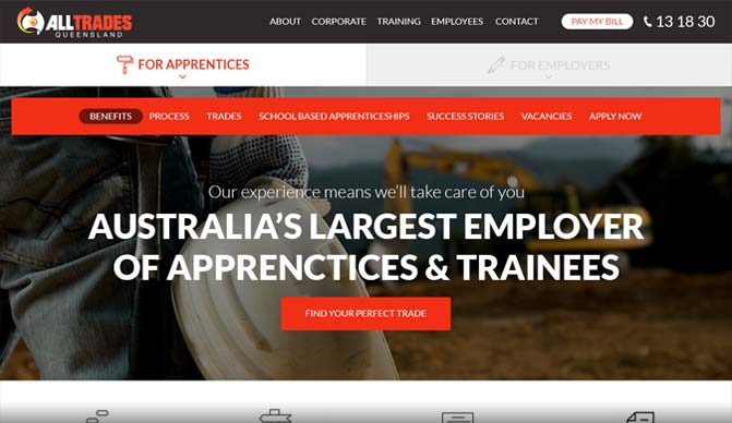 Alltrades Queensland homepage design concept