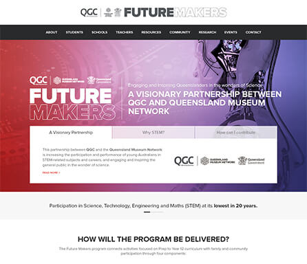 Futuremakers homepage design concept