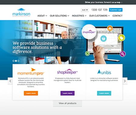 Markinson homepage design concept