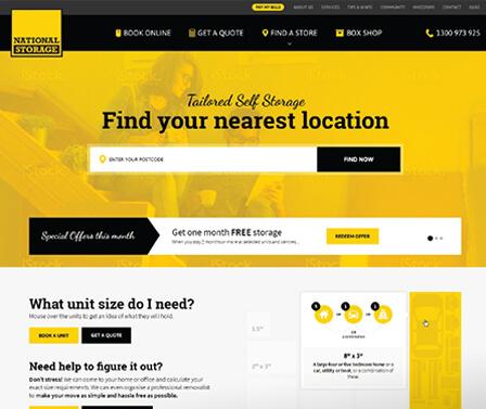 National Storage homepage design concept