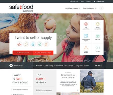 Safe Food Queensland homepage design concept