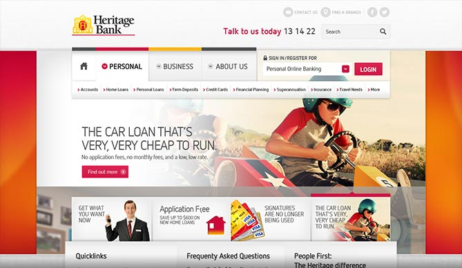 heritage bank homepage design concept