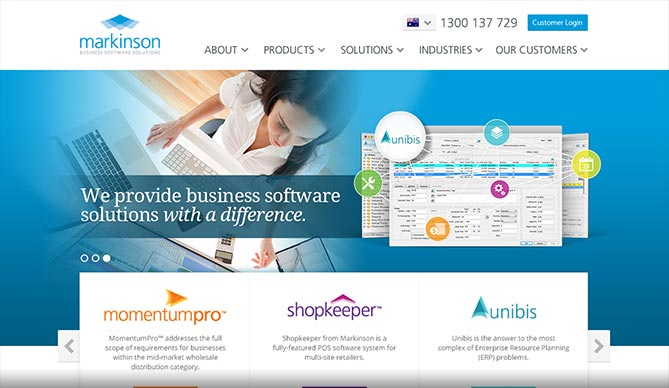 Markinson homepage design concept