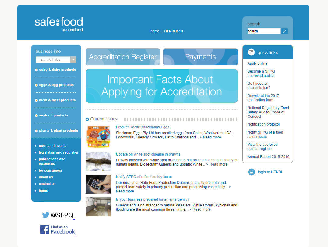 Example of old safe food Queensland homepage