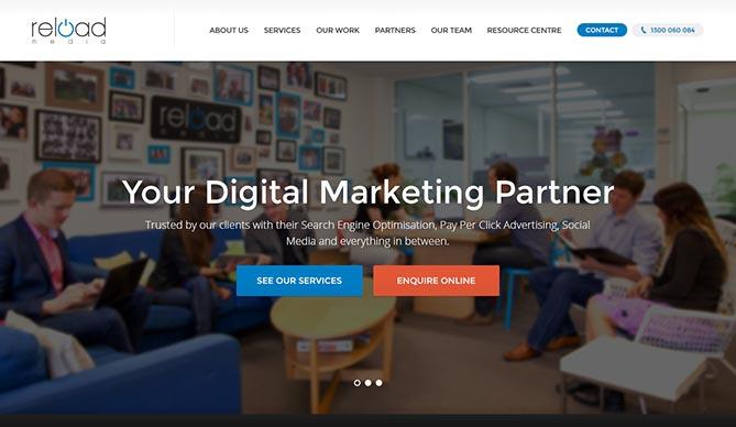 reload media homepage design concept