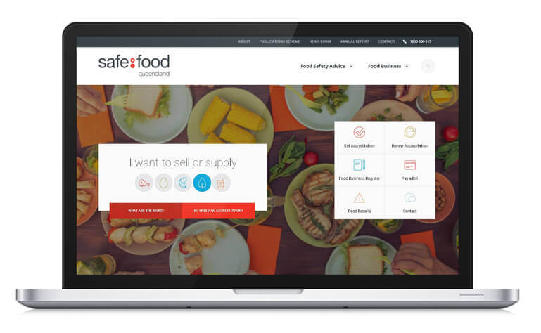 Safe food Queensland new homepage example