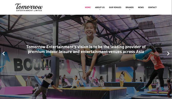 Tomorrow entertainment homepage concept