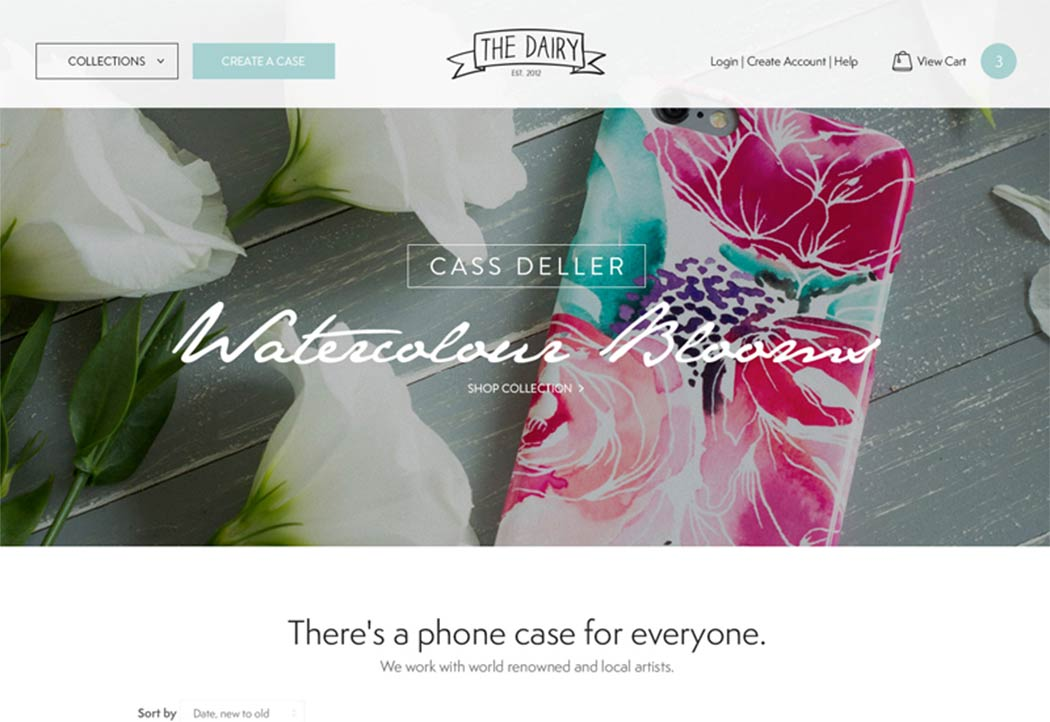 The Dairy homepage design concept