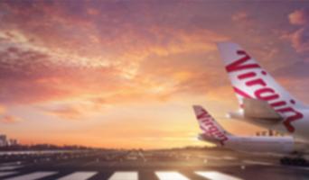 Virgin airplane on airport tarmac