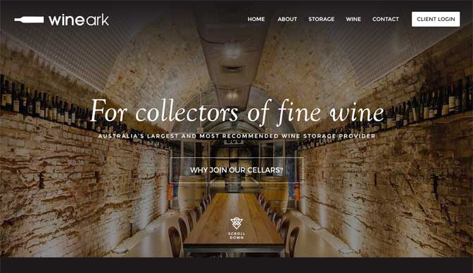 Wineark homepage design concept