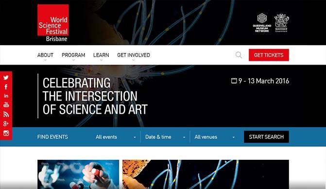 World Science Festival Brisbane homepage design concept